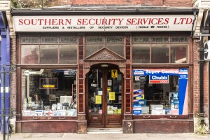 Shop front of Southern Security Services, Poole Road, Westbourne