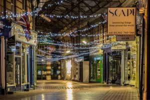 Interior of Westbourne Arcade at night
