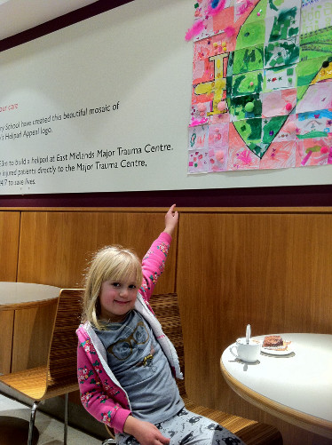Imogen Colvin points to the John Lewis mosaic