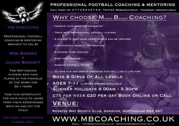 M B Coaching summer holiday football coaching