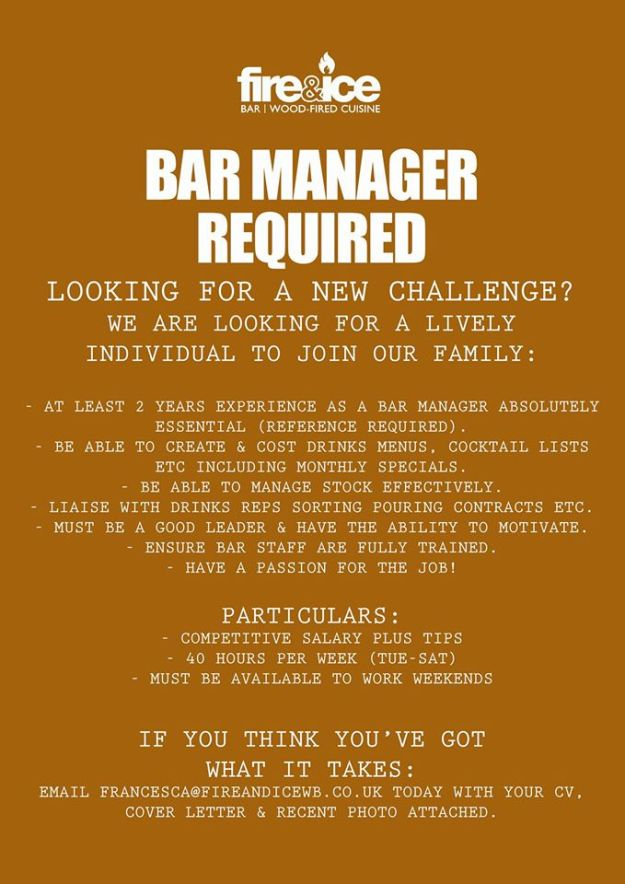 Fire and Ice Bar Manager Job Opportunity