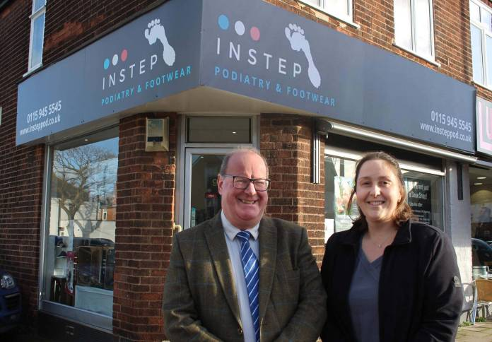 Portfolio Holder for Business and Transformation Cllr Andy Edyvean with Claire Dul, Owner and Podiatrist at InStep Shop West Bridgford