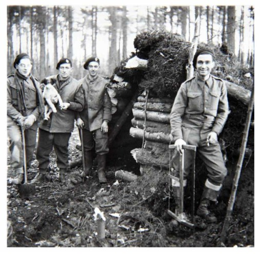 11th February, 1944, near Kleve, Germany. Lance Corporal Selwyn Ray on right, from West Bromwich, part of a Maintenance Unit of the Royal Armoured Corps.