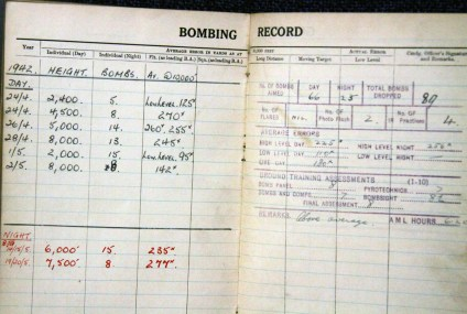 Bombing Record kept by Sgt Sedgley