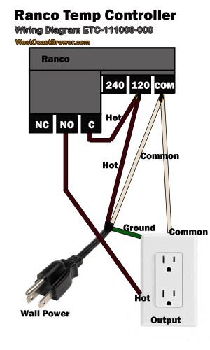 How to wire a Ranco digital temperature controller  120v