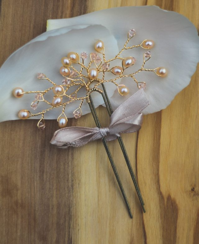 simple gold pearl and crystal hair pins