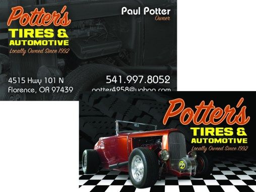 Potter's Tires & Automotive – Business Card