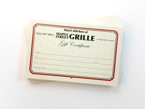 Maple Street Grille – Gift Certificates