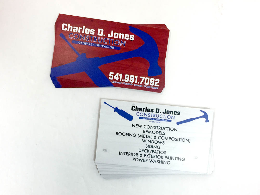 Charles D Jones Construction – Business Cards