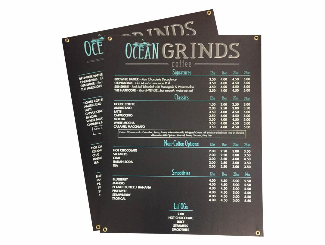 Ocean Grinds Coffee – Menu Sign