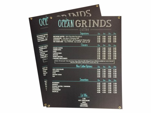 Ocean Grinds Coffee – Menu Sign