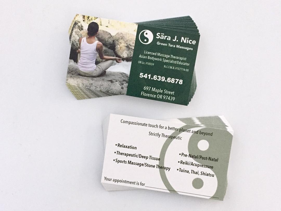 Green Tara Massages – Business Cards