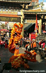 Two lions dancing in Lugang, Taiwan - Courtesy of Foreign Sanctuary. Click for more Lion Dance Pictures!