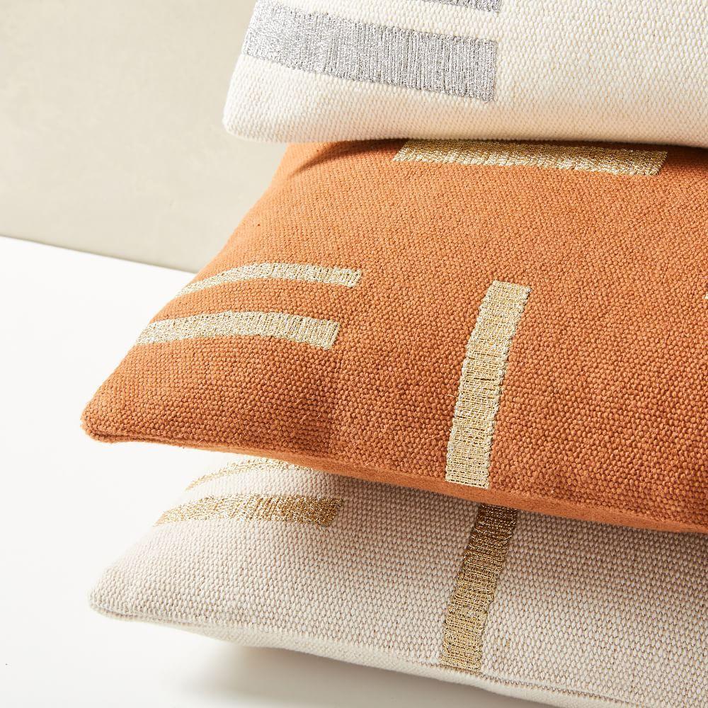 embroidered metallic blocks lumbar pillow cover
