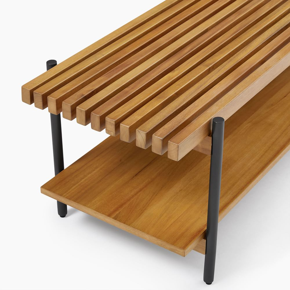 slatted wood coffee table