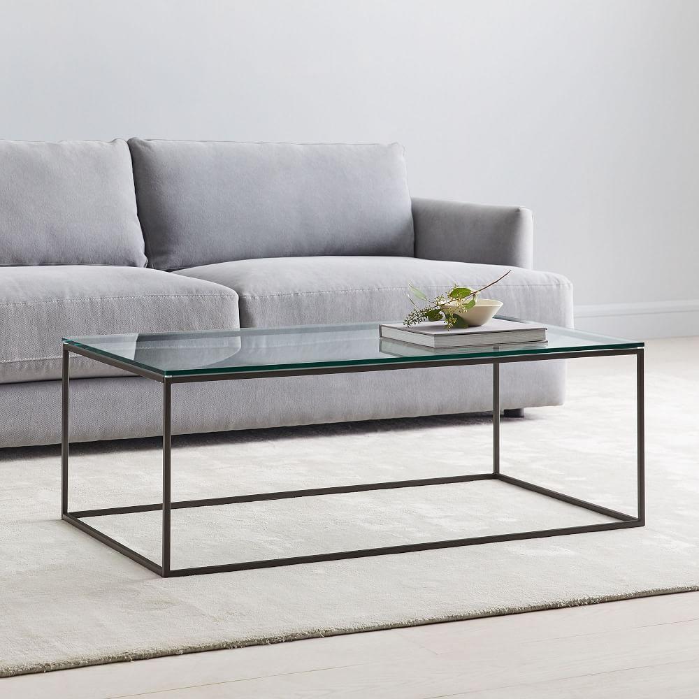 streamline coffee table glass metal