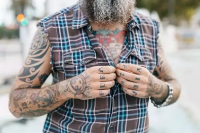 Tattooed male hipster fastening shirt buttons, cropped