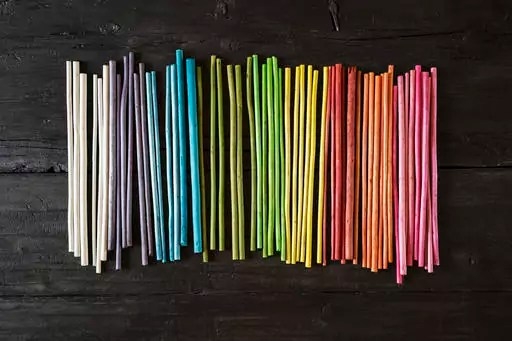 Row of colourful upcycling organic natural material