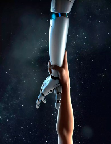 Computer generated image arm reaching for robotic arm