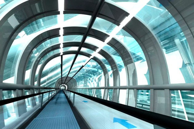 Futuristic passage of railway station, 3D Rendering