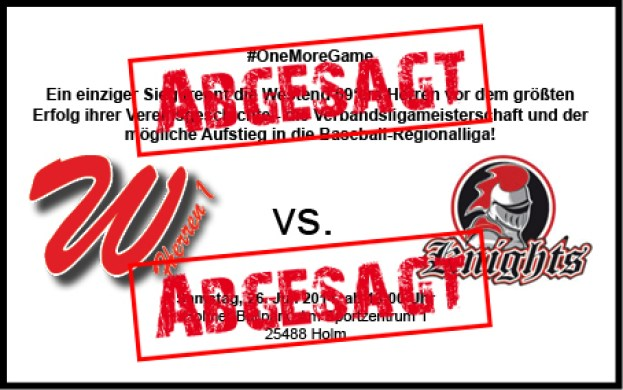 Hamburg Knights sagen das Spiel für Samstag ab!