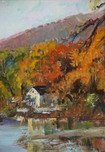 "Bruce Baxter ""Autumn Reflections II"" 12x9 oil $600."