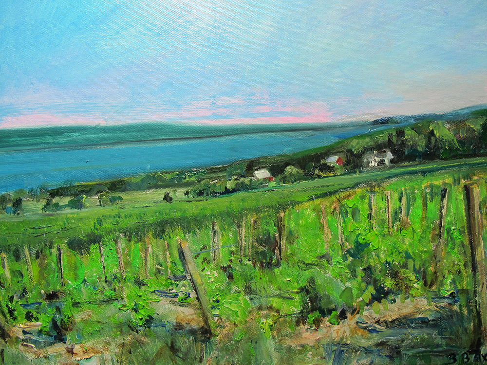 "Bruce Baxter ""Seneca Vineyards Overlook"" 18x24 oil $1,200."