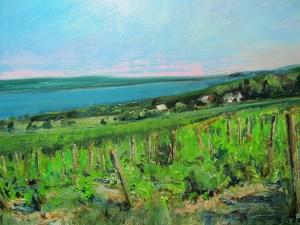 "Bruce Baxter ""Seneca Vineyards Overlook"" 18x24 oil $1,200."