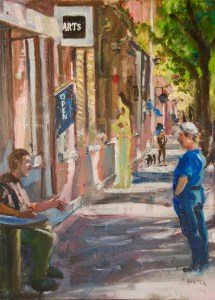 """Bruce Baxter """"Soulful Chat"""" 20x16 oil $1,100."""