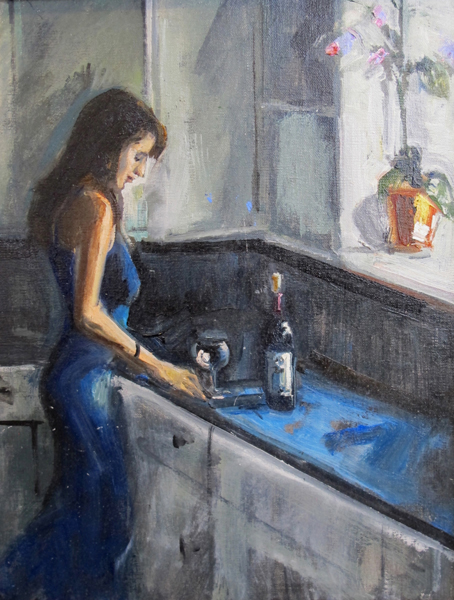"Bruce Baxter ""Vino Tinto?"" 14x11 oil $700."