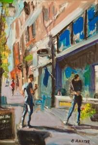 "Bruce Baxter ""Window Shopping II"" 12x9 oil $750."