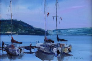 "Bruce Baxter ""Yacht Club Sloops"" 12x16 oil $800."