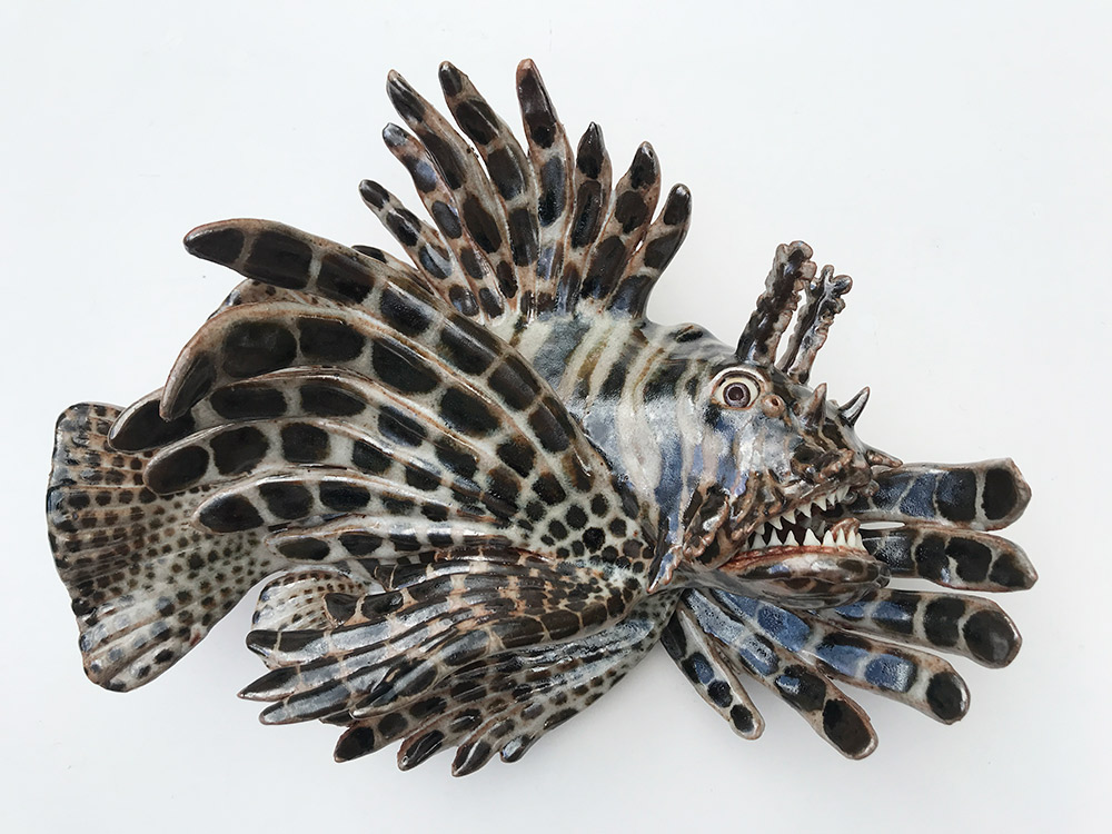 "Alan and Rosemary Bennett ""Lion Fish"" (View B) 10x12 clay $450."