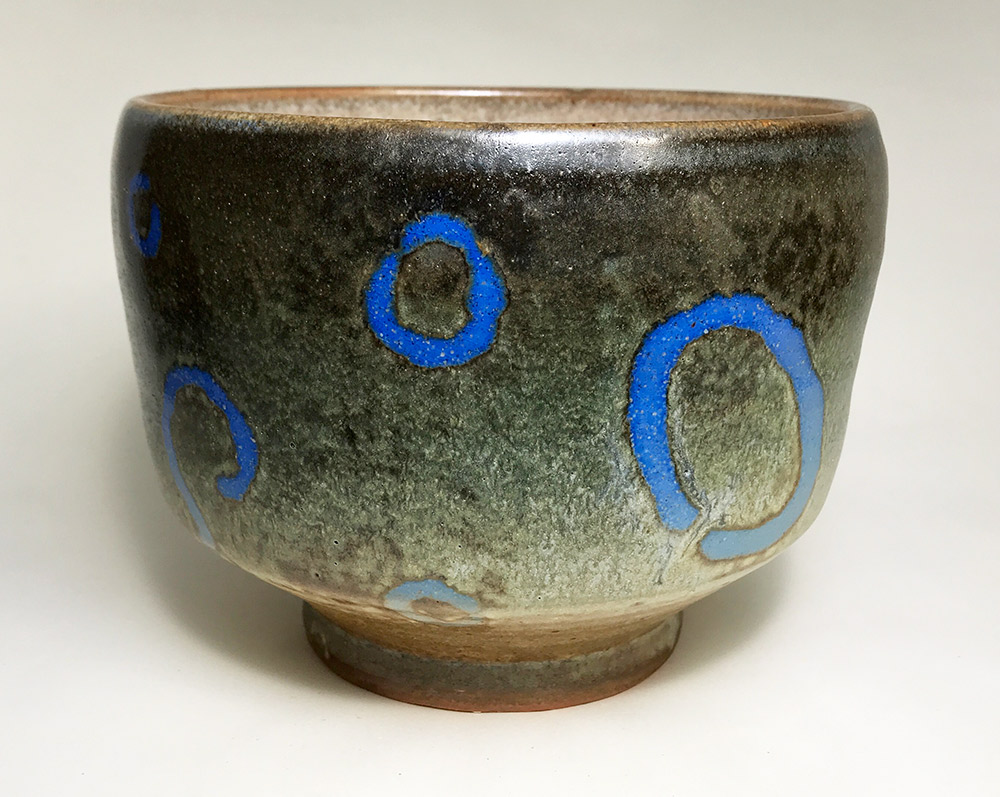 "Alan and Rosemary Bennett ""Peacock Flounder Bowl"" 5x6 clay $150."