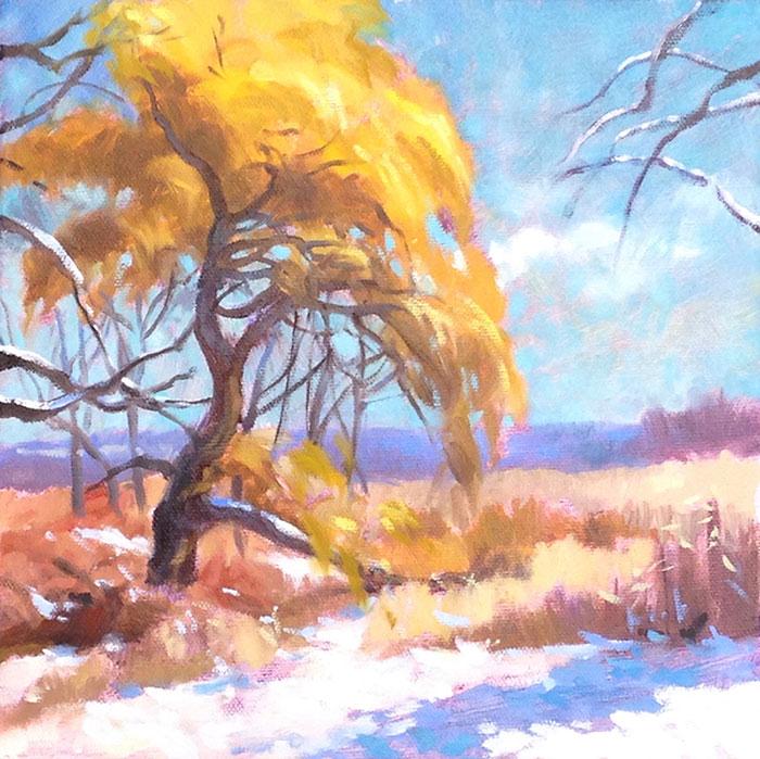"""Anne L. Bialke """"Winter Willow"""" 10x10 oil $350."""