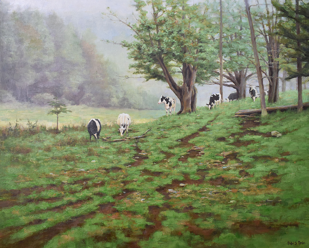 "Bibi S. Brion ""Wooded Pasture"" 24x30 oil $3,500."