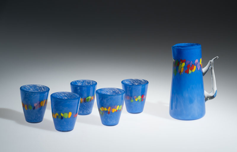 "David Buck ""Dutch Blue 6 Tumblers and Pitcher"" blown glass $235. set Inquire on pitcher shape"
