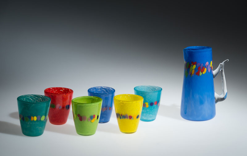 "David Buck ""6 Multi Tumblers and Dutch Blue Pitcher"" blown glass $235. set Inquire"