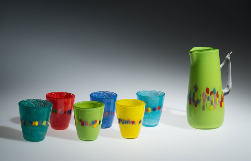 "David Buck ""6 Multi Tumblers and Granny Green Pitcher"" blown glass $235. set"