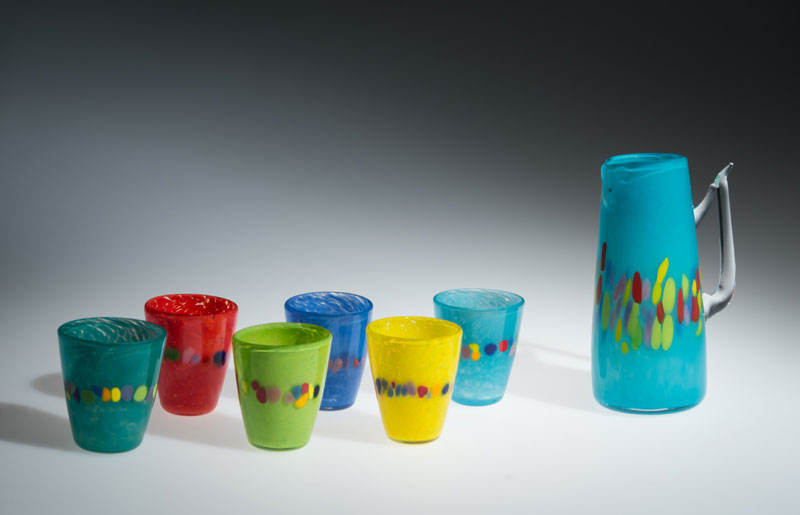 "David Buck ""6 Multi Tumblers and Sea Blue Pitcher"" blown glass $235. set Inquire on pitcher shape"