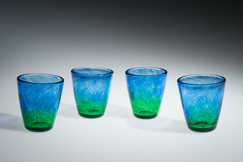 "David Buck ""Translucent Blue and Green Tumblers"" blown glass $20. each"