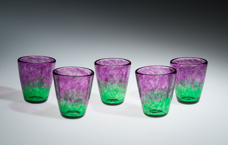 """David Buck """"Translucent Purple and Green Tumblers"""" blown glass $20. each (Inquire on availability)"""