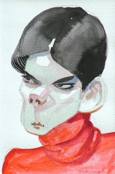 """Thomas S. Buechner """"Anger"""" 6x4 watercolor $950."""