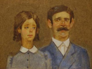 "Thomas S. Buechner ""Immigrant Couple"" 11x14 oil $2,450"