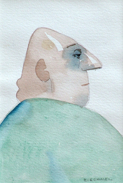 "Thomas S. Buechner ""Sloth"" 6x4 watercolor $950."