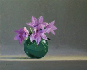 "Thomas S. Buechner ""Clematis"" 16x20 oil $3,390."