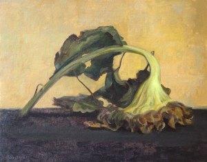 """Thomas S. Buechner """"Face Down Sunflower"""" 11x14 oil $2,570. framed"""