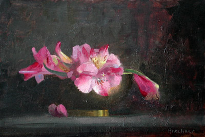 "Thomas S. Buechner ""Phillipean Lilies in Brass Bowl"" 8x12 oil $2310."