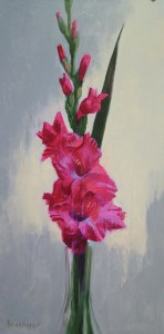 "Thomas Buechner ""Red Gladiolus"" 24x12 oil $3,390."