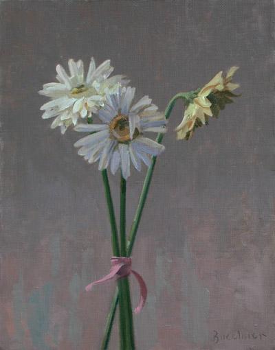 "Thomas S. Buechner ""Three Gerber Daisies"" 14x11 oil $2570."